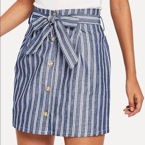 BOGO FREE:Striped blue/white single breasted skirt
